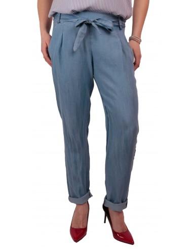 d9eaef6827f8 Pantalon femme fluide matière jean clair taille élastique   ceinture noeud