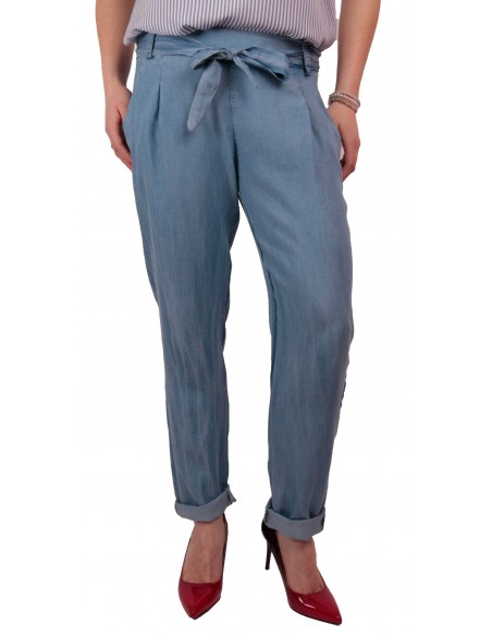 Pantalon femme fluide matière jean clair taille élastique & ceinture noeud