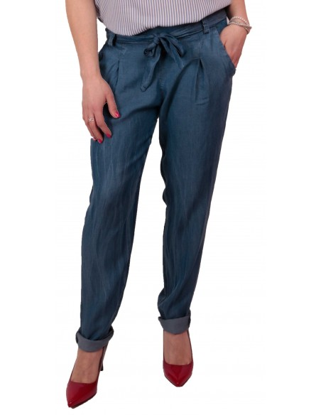 Pantalon femme fluide matière jean brut taille élastique & ceinture noeud