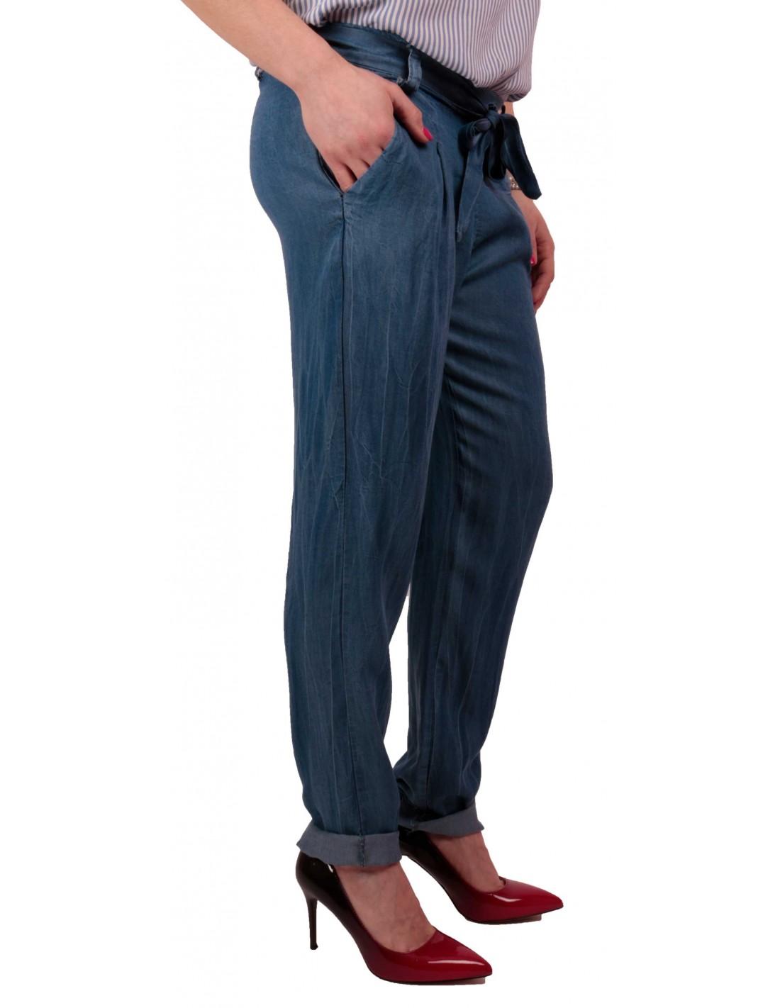 e3eeae699c5f ... Pantalon femme fluide matière jean brut taille élastique   ceinture  noeud ...