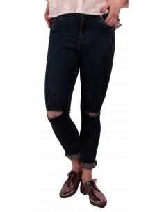 Jean femme troué aux genoux bleu brut taille haute & stretch avec ourlets amovibles