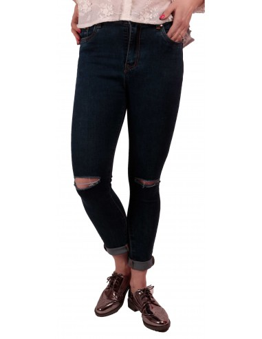 Jean femme troué aux genoux bleu brut taille haute   stretch avec ourlets  amovibles 76888f5ece1c