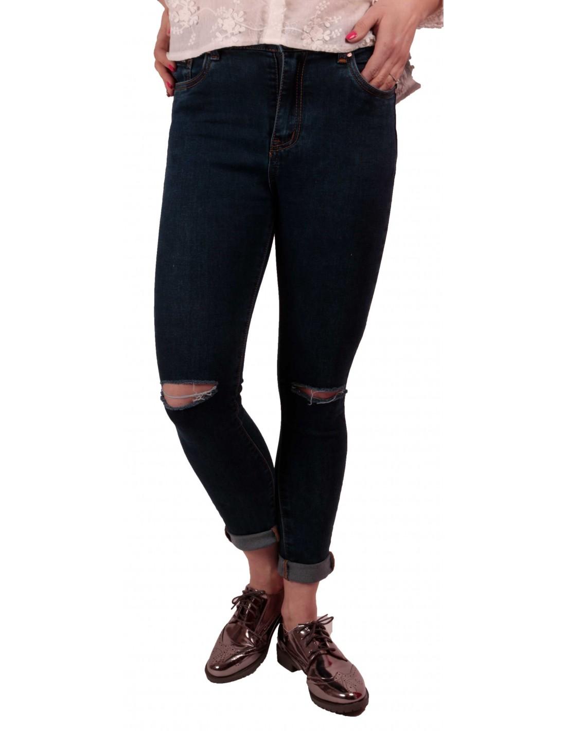 jean femme trou bleu brut taille haute stretch avec ourlets amovibles. Black Bedroom Furniture Sets. Home Design Ideas