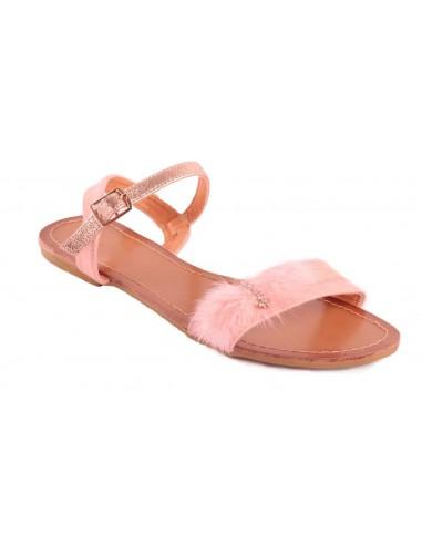 Sandales femme rose type nus pieds pompons fourrure synthétique & strass