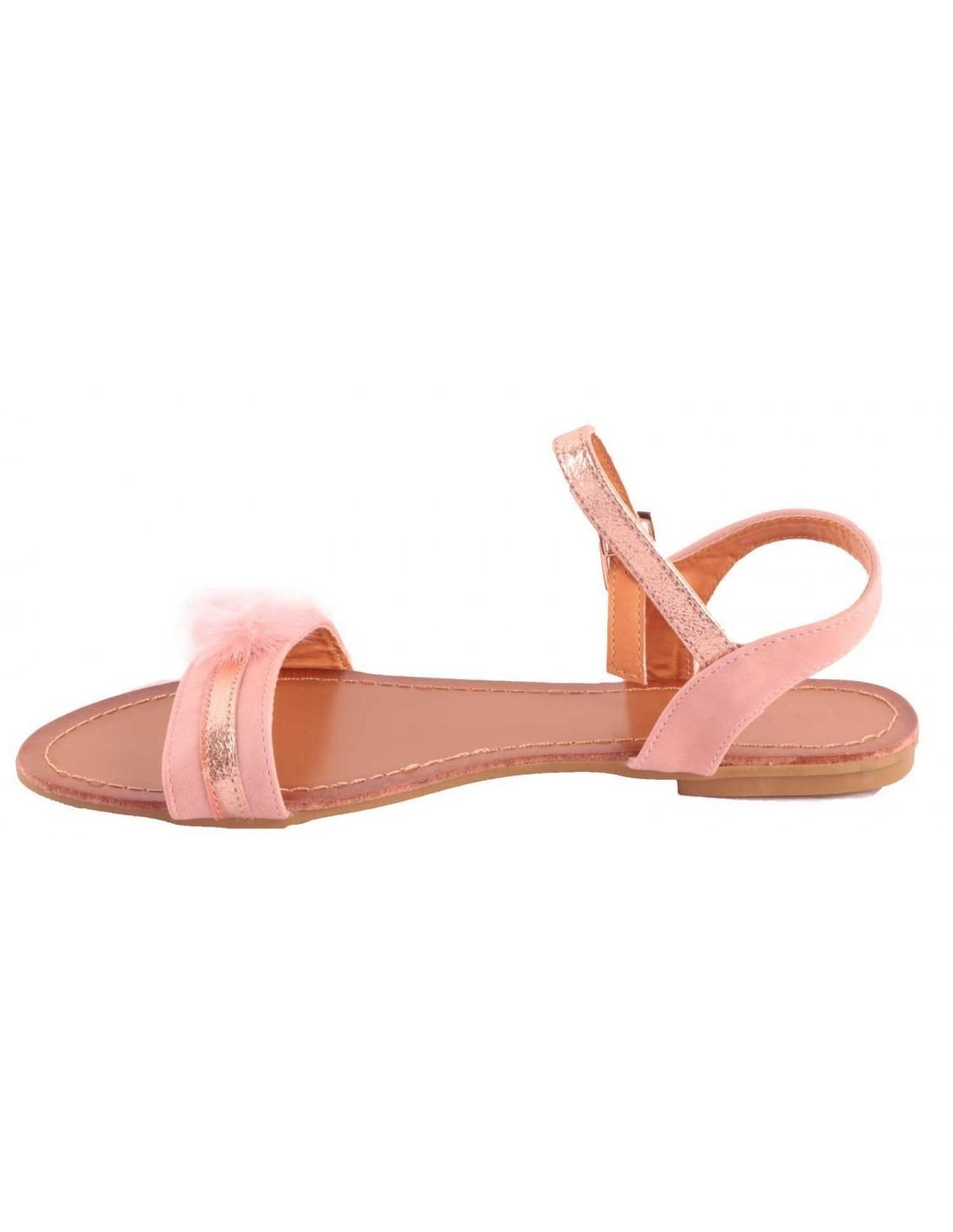 Sandales femme rose type nus pieds pompons fourrure synthétique & strass-41 kNU68
