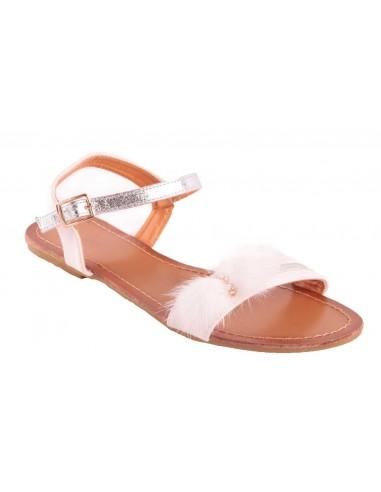 Sandales femme blanche type nus pieds blanc pompons fourrure synthétique & strass
