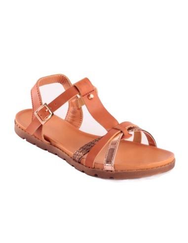 Sandales femme camel en cuir synthétique type nus pieds motif écaille