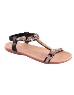 Sandales été femme grande taille élastique noir strass bride cheville confortable