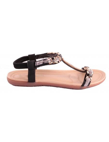 Sandale noir strass femme grande taille pointure 41 à 44 avec chaîne doré & motif fantaisie