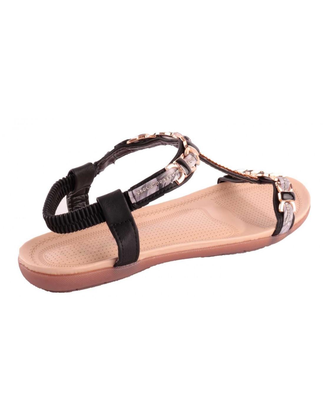 8723a7429e0 ... Sandale noir strass femme grande taille pointure 41 à 44 avec chaîne  doré   motif fantaisie ...