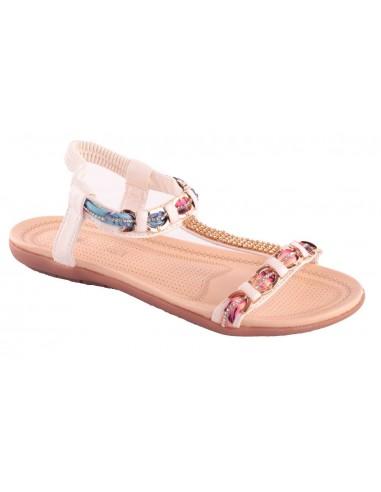 Sandale blanche strass femme grande taille pointure 41 à 44 avec chaîne doré & motif fantaisie