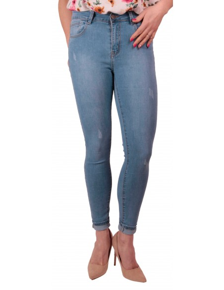 Jean Femme bleu clair skinny stretch taille haute effet Jean skinny gainant
