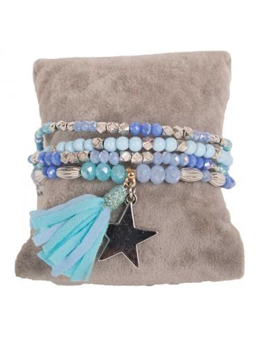 Bracelet bleu élastique en perles fantaisies & breloque étoile argentée