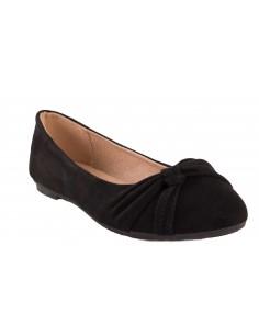 Ballerine noir en daim synthétique avec noeud fantaisie semelle confort chaussure été femme