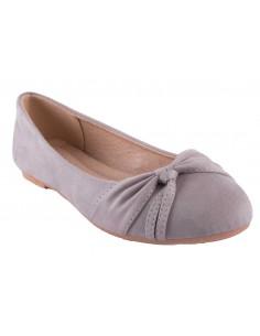 Ballerine grise en daim synthétique noeud fantaisie semelle confort chaussure été femme