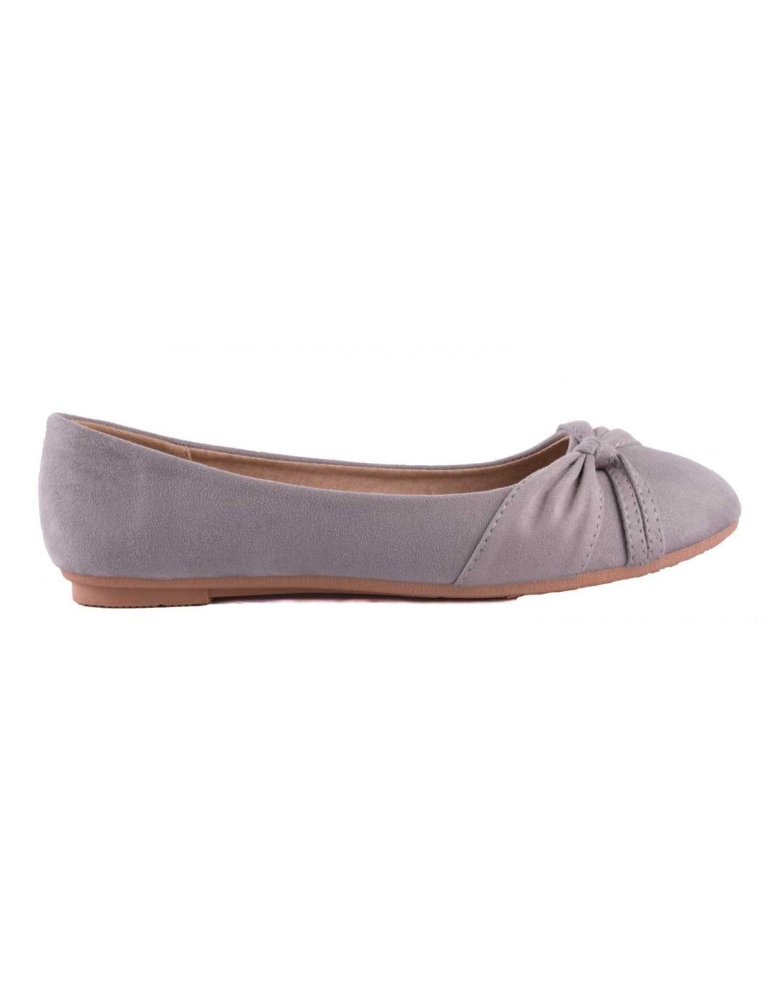 b5f97a2f6ba1c ... Ballerine grise en daim synthétique noeud fantaisie semelle confort  chaussure été femme ...