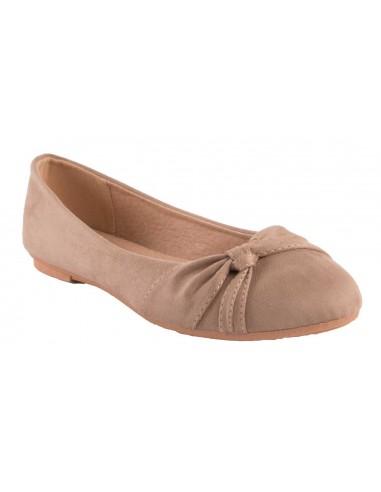 Ballerines Taupe en daim synthétique noeud fantaisie semelle confort chaussure été femme marron clair