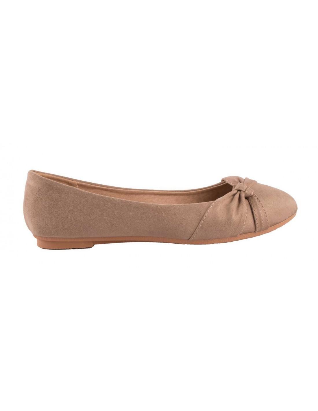 000a58ebfc4a9 ... Ballerines Taupe en daim synthétique noeud fantaisie semelle confort  chaussure été femme marron clair ...