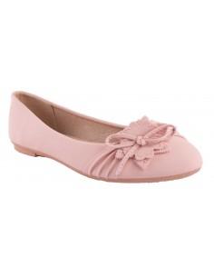 Ballerine rose simili cuir fantaisie fleur semelle confort chaussures été femme