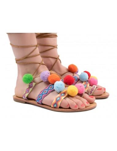 Sandales à pompons & lacets chevilles motif ethnique type chaussures été femme sandales