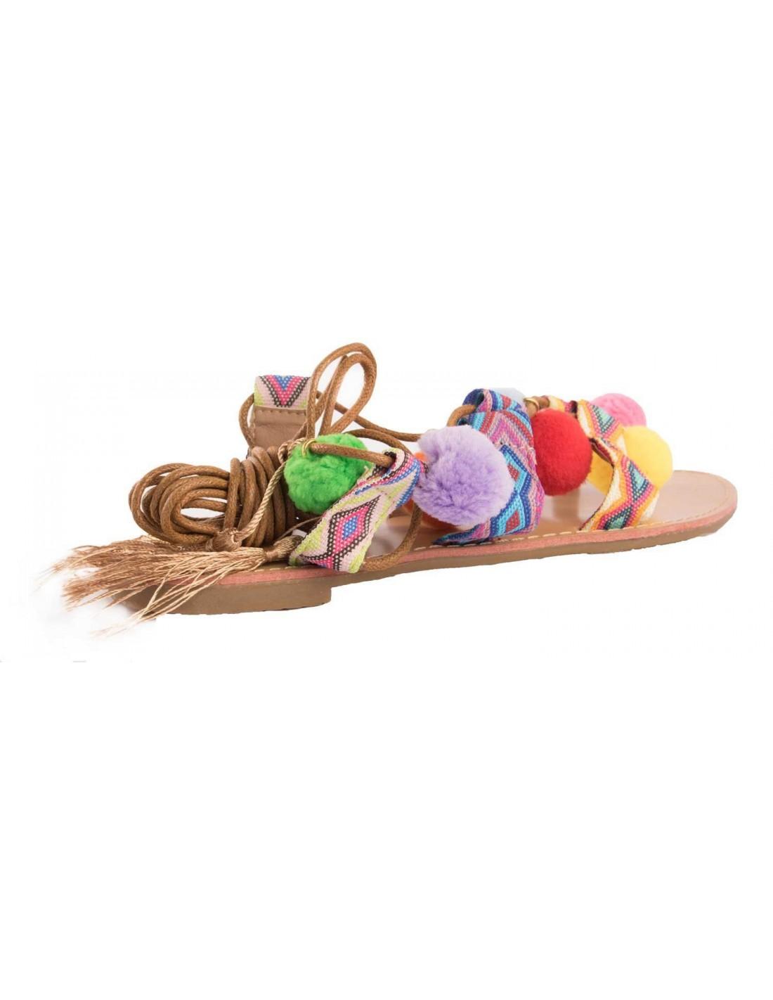 Sandales femme à lacets cheville bohème avec pompons ethnique