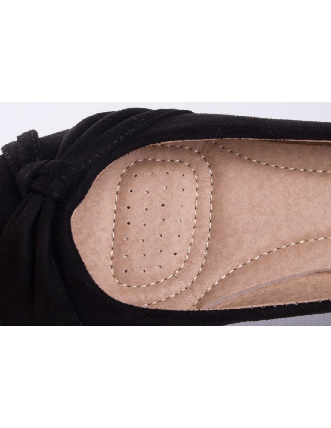 0cba670af92cd ... Ballerine noir en daim synthétique avec noeud fantaisie semelle confort  chaussure été femme