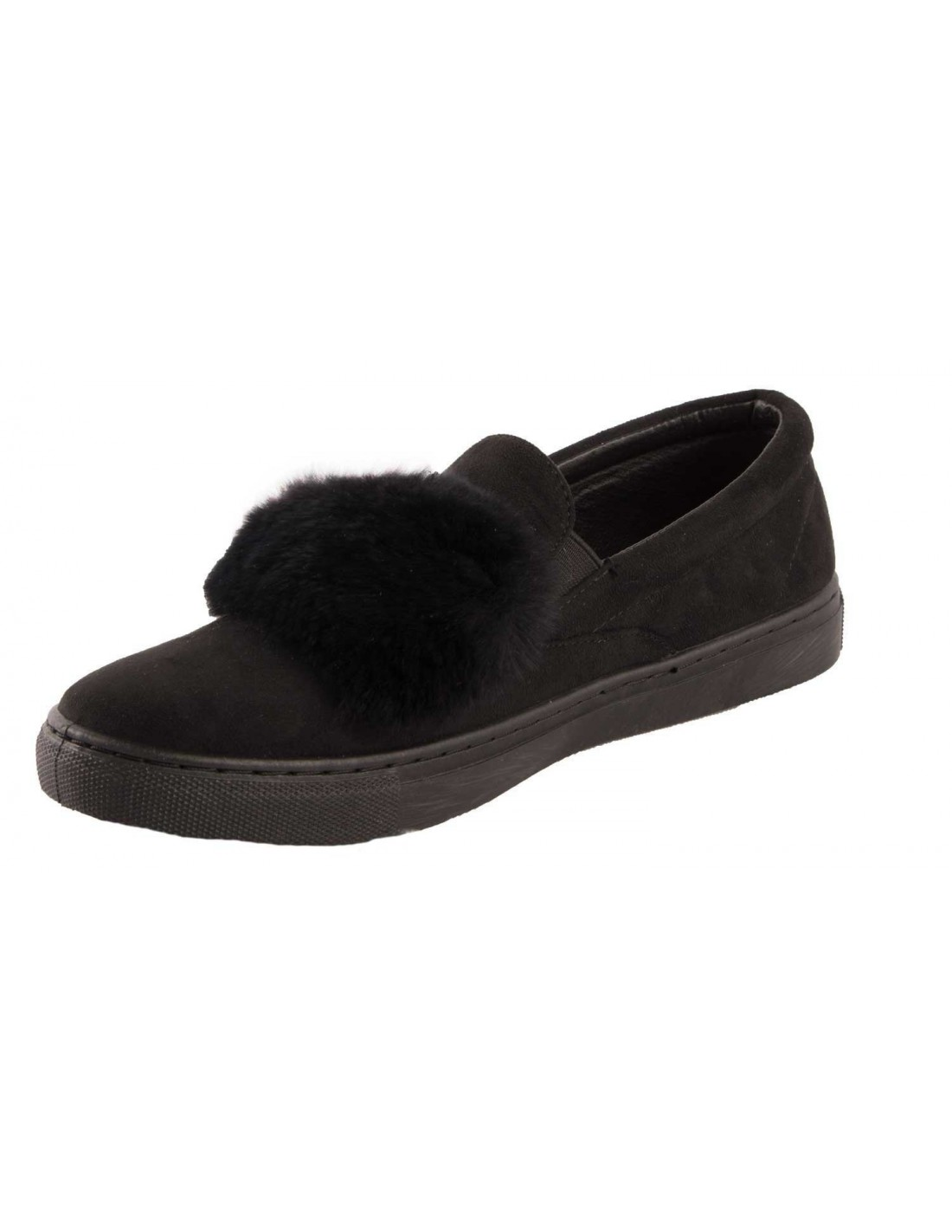 baskets femme fourrure noir slip on noire bande fourrure synth tique. Black Bedroom Furniture Sets. Home Design Ideas