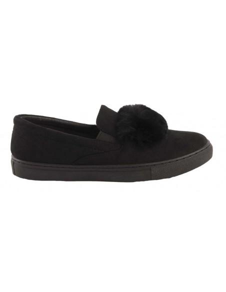 Baskets femme fourrure noir type Slip on suédine noire & bande fourrure synthétique