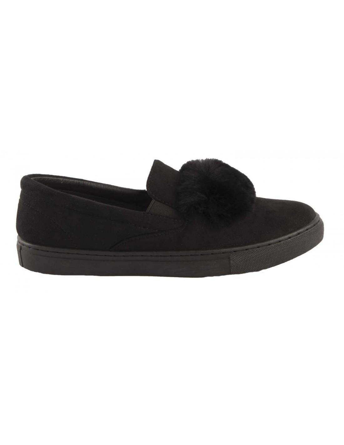 style moderne acheter mieux comparer les prix Baskets femme fourrure noir Slip on noire & bande fourrure ...