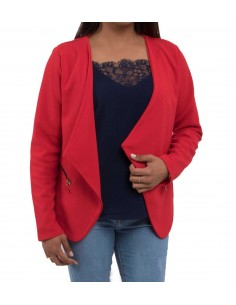 Veste blazer rouge femme coupe blazer léger type gilet