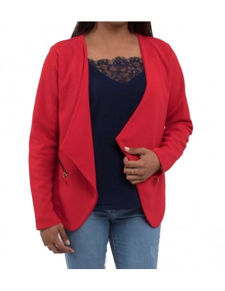 Veste rouge femme coupe blazer léger type gilet ouvert & zip dorés