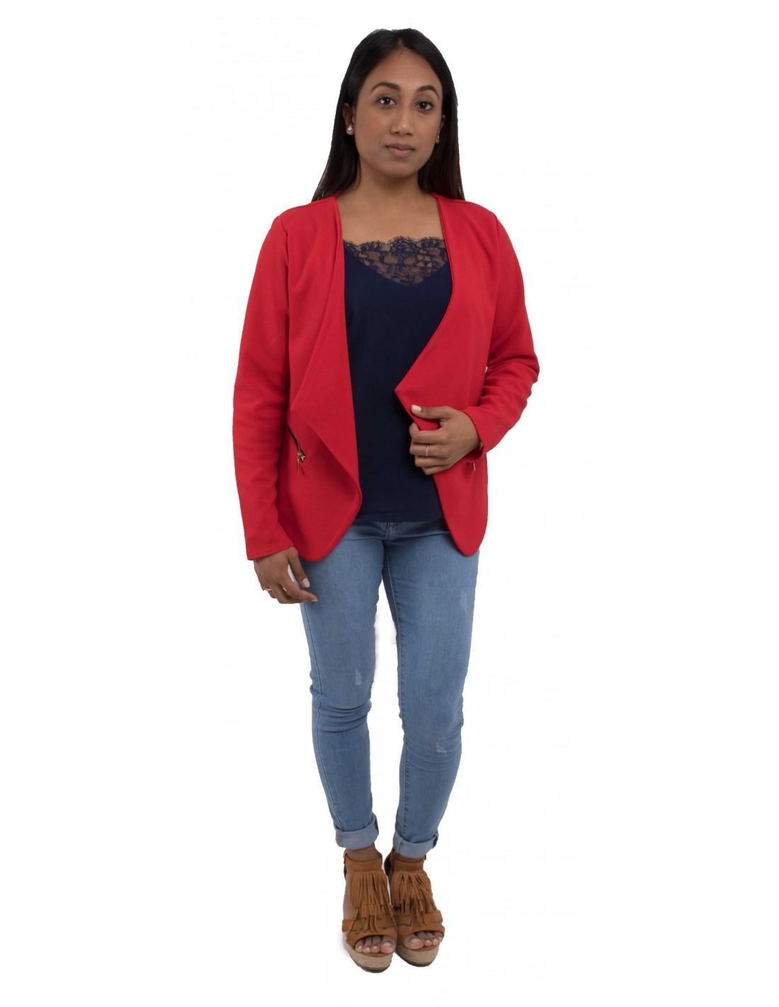 veste femme rouge coupe blazer l ger effet gilet. Black Bedroom Furniture Sets. Home Design Ideas