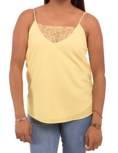 Débardeur femme jaune fluide type débardeur dentelle fines bretelles