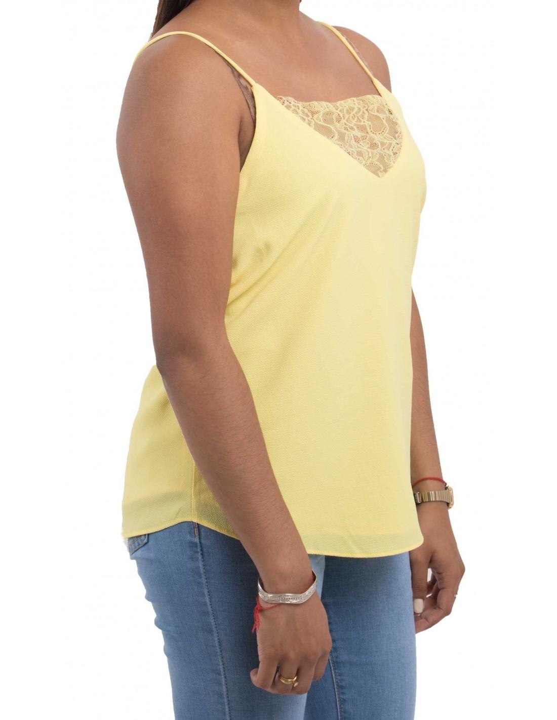 Débardeur femme jaune fluide type débardeur dentelle fines bretelles 136f32344f4
