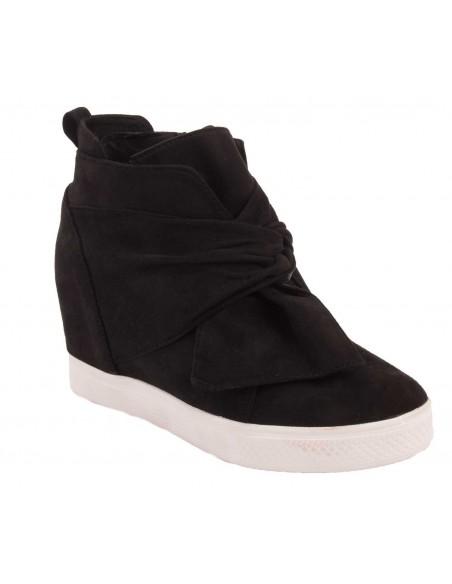 Basket compensée noir suédine, femme daim fantaisie noeud babydoll - chaussure plate