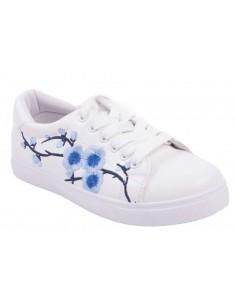 Baskets femme sport blanche à fleur bleu brodée simili cuir