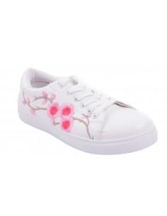Baskets fleurs rose sport femme simili cuir blanc