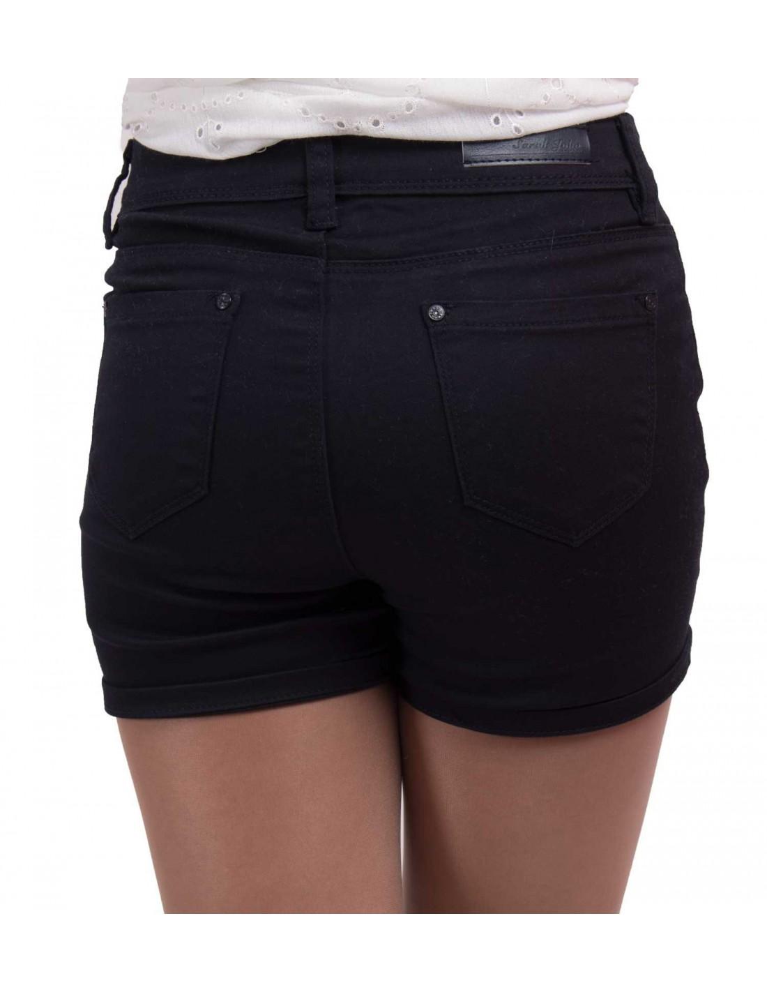 581d355c46 Short en jean femme taille haute & stretch bleu marine, beige,noir