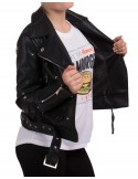 Veste noir perfecto femme court en simili cuir à ceinture avec clous & étoiles métal argenté type veste perfecto sexy