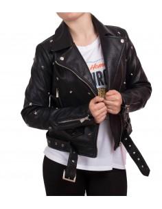 Veste noir perfecto femme court en simili cuir à ceinture avec clous & étoiles métal argenté