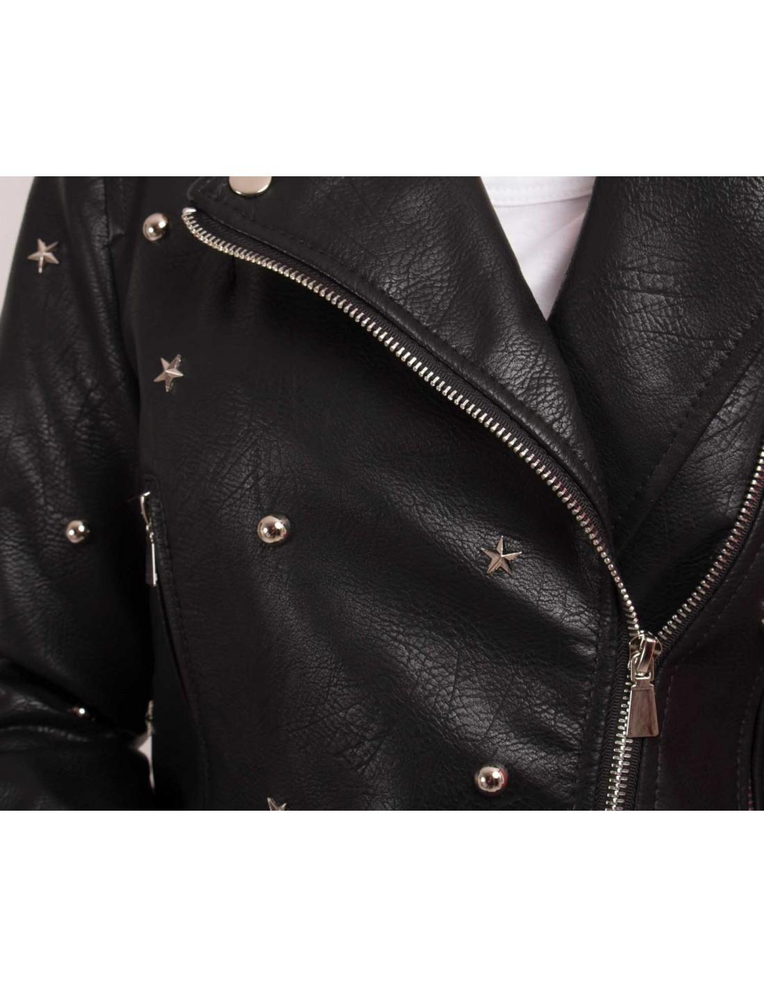 Veste simili cuir femme avec ceinture