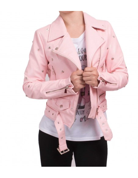 Veste perfecto rose femme court en simili cuir à ceinture avec clous & étoiles métal argenté type veste perfecto sexy