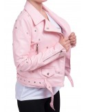 Veste perfecto femme sexy rose court en simili cuir à ceinture avec clous & étoiles argenté