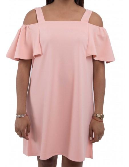 Robe rose mi-longue épaules dénudées & fines bretelles à volants