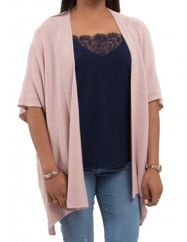 Gilet laine femme ample type gilet léger ouvert en maille pailletée divers coloris