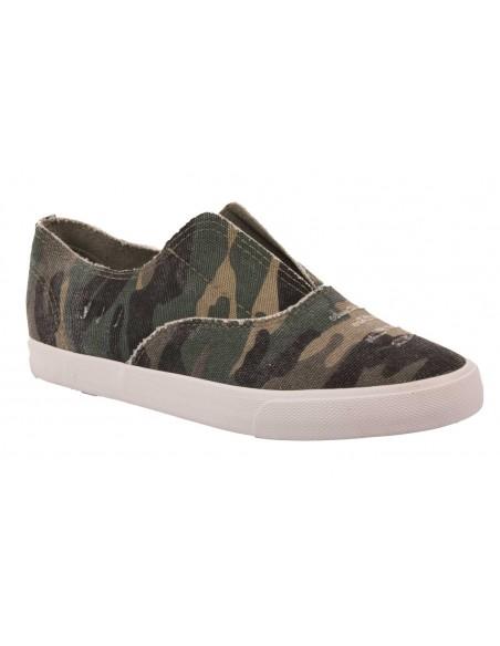 Slip on femme militaire plate slippers femme camouflage à plateforme semelle caoutchouc pas cher T 36 37 38 39 40 41