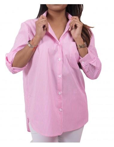 Chemise femme rose à rayures blanches verticales manches amovibles & poche avant décorative