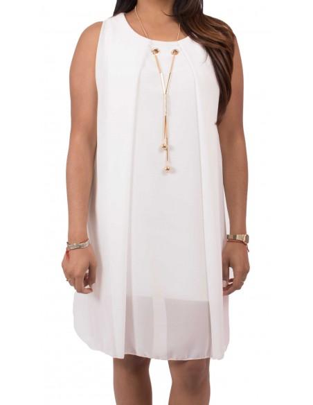 Robe sans manche fluide type robe d'été habillée avec collier intéré divers coloris