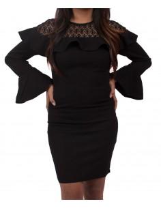 Robe femme noir moulante dentelle & volants manches longues