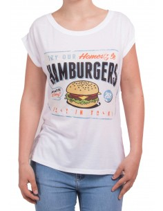 T-shirt manches courtes femme Hamburger type T-shirt humour femme décontracté